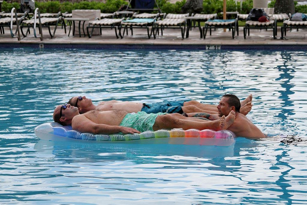 "More bromance time for Ian Gomez and Brian Van Holt, relaxing with the help of a couple pool rafts at the Turtle Bay Resort, where the ""<a href=""/cougar-town/show/44787"">Cougar Town</a>"" cast and crew stayed."