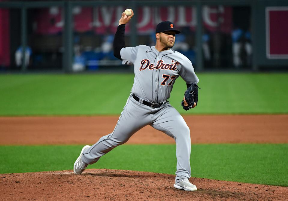 Tigers pitcher Joe Jimenez throws in the seventh inning of the Tigers' 4-3 win in Kansas City, Missouri, on Saturday, Sept. 26, 2020.