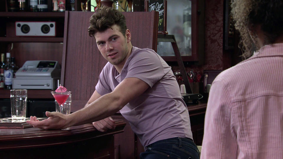 FROM ITV  STRICT EMBARGO - No Use Before Tuesday 31st August 2021  Coronation Street - Ep 10423  Monday 6th September 2021 - 2nd Ep  Emma Brooker [ALEXANDRA MARDELL] finds Curtis [SAM RETFORD] drunk in the Rovers.   Picture contact David.crook@itv.com   This photograph is (C) ITV Plc and can only be reproduced for editorial purposes directly in connection with the programme or event mentioned above, or ITV plc. Once made available by ITV plc Picture Desk, this photograph can be reproduced once only up until the transmission [TX] date and no reproduction fee will be charged. Any subsequent usage may incur a fee. This photograph must not be manipulated [excluding basic cropping] in a manner which alters the visual appearance of the person photographed deemed detrimental or inappropriate by ITV plc Picture Desk. This photograph must not be syndicated to any other company, publication or website, or permanently archived, without the express written permission of ITV Picture Desk. Full Terms and conditions are available on  www.itv.com/presscentre/itvpictures/terms
