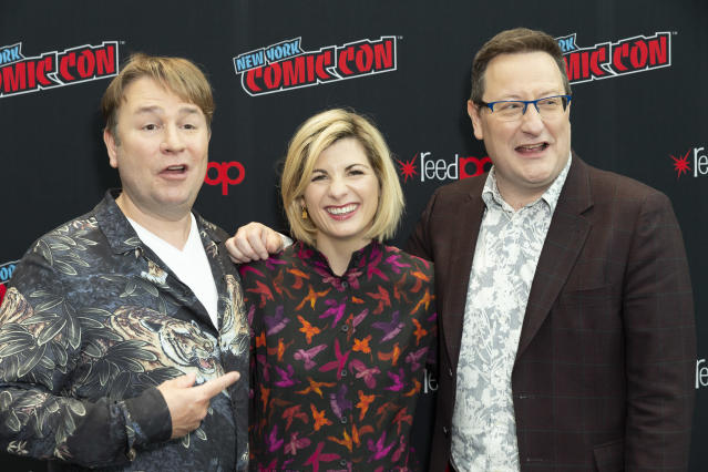 Jodie Whittaker, with Matt Strevens and Chris Chibnall, attending the Doctor Who photocall during New York Comic Con at Jacob Javits Center. (Photo by Lev Radin/Pacific Press/LightRocket via Getty Images)