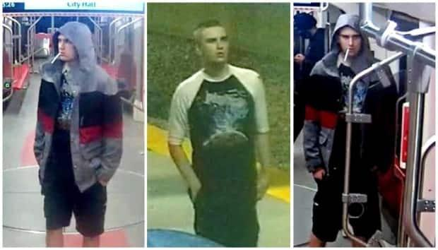 Police released these images after a random stabbing in downtown Calgary and have now charged a 19 year old in connection with the incident.  (Calgary Police Service - image credit)