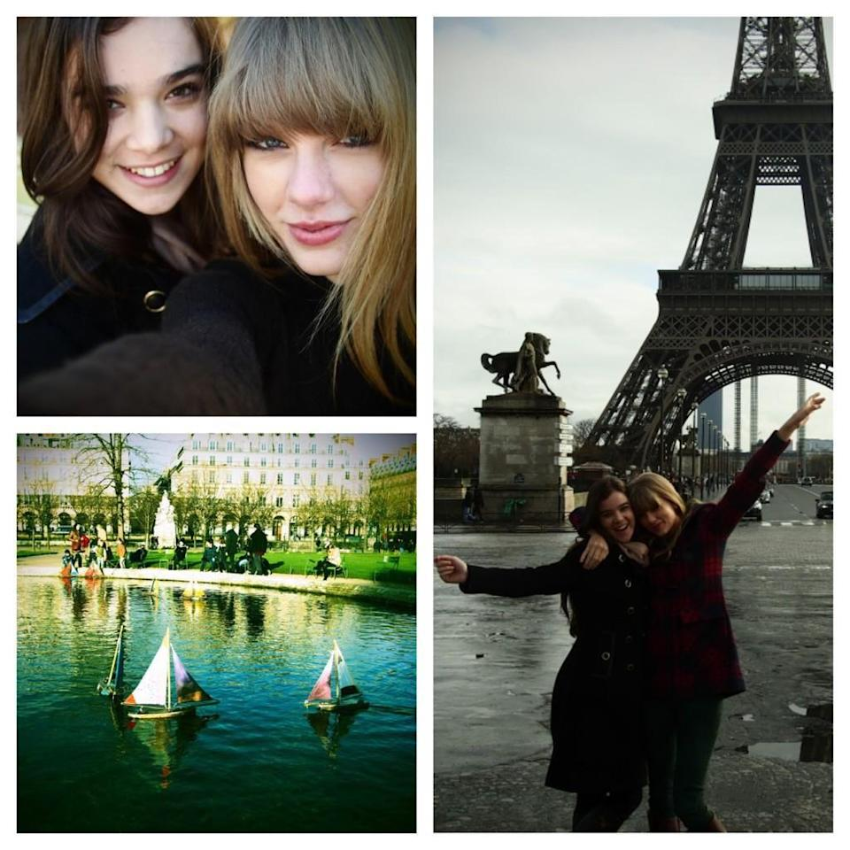 """<p>Paris is known for being a romantic city, but it's just as fun with a friend, as Taylor Swift knows. The songstress and Hailee Steinfeld made a day of it in 2013, """"meandering around"""" and """"laughing hysterically."""" (Photo: <a rel=""""nofollow noopener"""" href=""""https://twitter.com/taylorswift13/status/295578061825515520"""" target=""""_blank"""" data-ylk=""""slk:Taylor Swift via Twitter"""" class=""""link rapid-noclick-resp"""">Taylor Swift via Twitter</a>) </p>"""