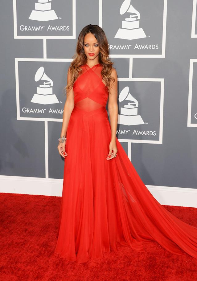 Rihanna wearing an Alaïa gown to the Grammys in 2013. (Photo: Getty Images)