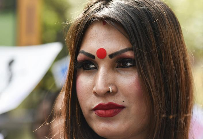 Guwahati, Assam, India. 8 March 2020: Supporters and members of Transgender community participate in a Pride Parade in Guwahati.