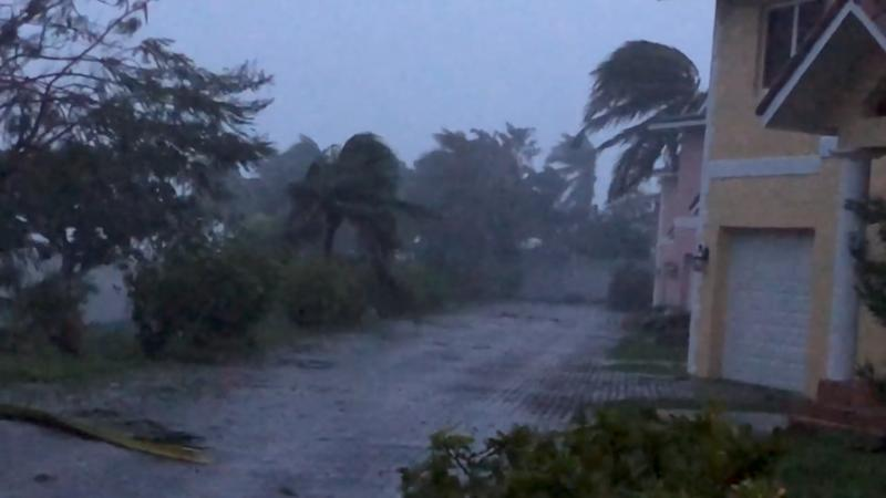 Strong winds batter Oceanhill Boulevard in Freeport, as Hurricane Dorian passes over Grand Bahama Island, Bahamas Sept. 2, 2019. (Photo: Lou Carroll via Reuters)