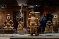 """The exhibition illustrates that Mexican history """"did not begin just 500 years ago"""" with the fall of the Aztec empire, Culture Minister Alejandra Fraustro Guerrero said (AFP/Pedro PARDO)"""