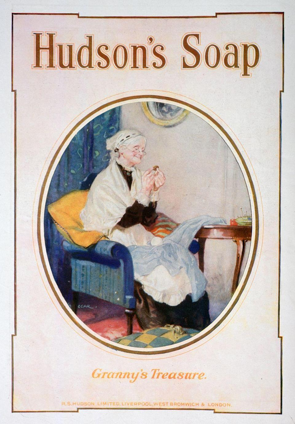 <p>To promote Hudson's soap for the holiday season in 1918, the brand launched a heartfelt advert featuring an adoring Granny in her sewing chair. <br></p>