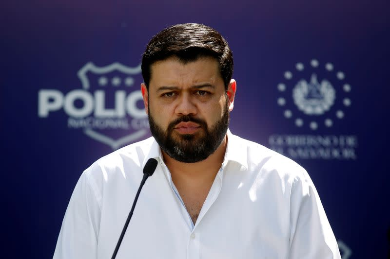 Minister of Justice and Security Rogelio Rivas takes part in a news conference in San Luis La Herradura