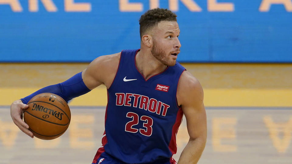 Detroit Pistons forward Blake Griffin (23) against the Golden State Warriors during an NBA basketball game in San Francisco, Saturday, Jan. 30, 2021. (AP Photo/Jeff Chiu)