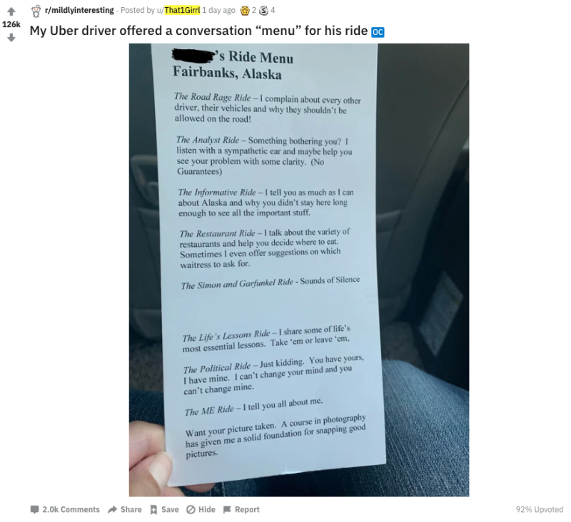 Uber driver goes viral for giving users a conversation 'menu'