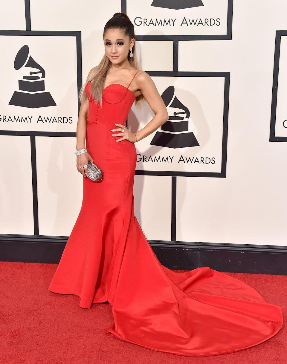 <p>Ariana Grande in a red Romona Keveza dress at the Grammys.</p>