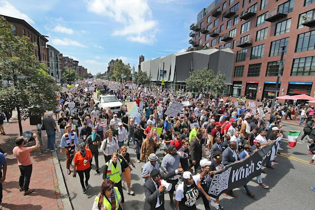 """<p>Counterprotesters march down Tremont Street to confront free speech demonstrators in the Boston Common during the """"Boston Free Speech"""" rally and counterprotest in Boston, Aug. 19, 2017. (Photo: Matthew J. Lee/The Boston Globe via Getty Images) </p>"""