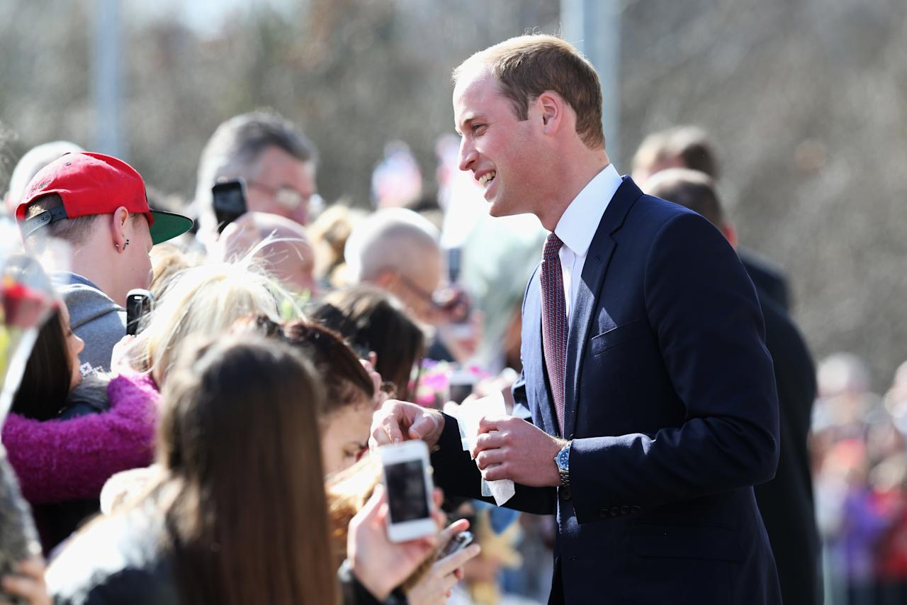 GLASGOW, UNITED KINGDOM - APRIL 04:  Prince William, Earl of Strathearn greets the crowd as he visits the Donald Dewar Leisure Centre to launch a new project for their foundation on April 4, 2013 in Glasgow, Scotland. The Royal Foundation of The Duke and Duchess of Cambridge and Prince Harry is partnering with Glasgow Sport and the Hunter Foundation on a new pilot as part of its national Coach Core initiative.  (Photo by Chris Jackson/Getty Images)