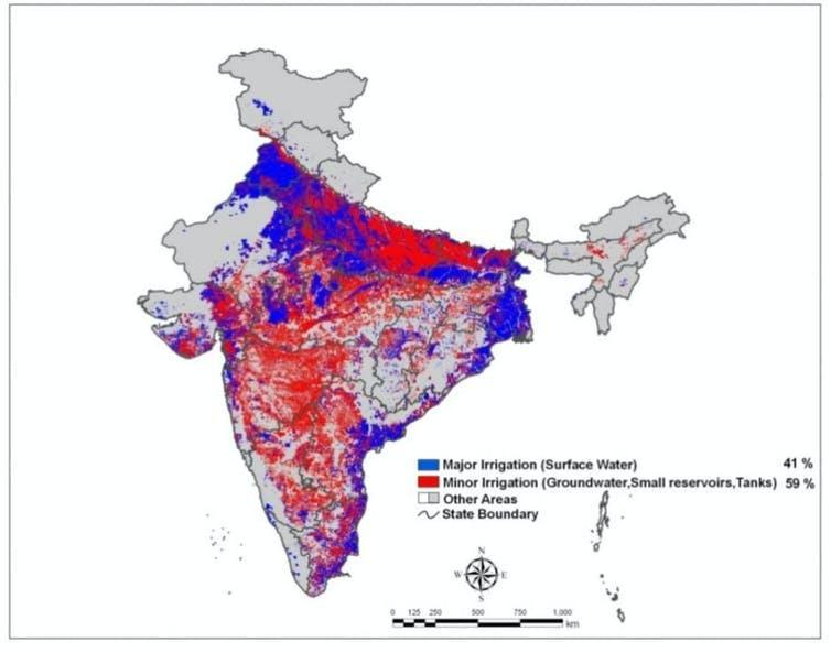 Map of India showing large and small scale irrigation.