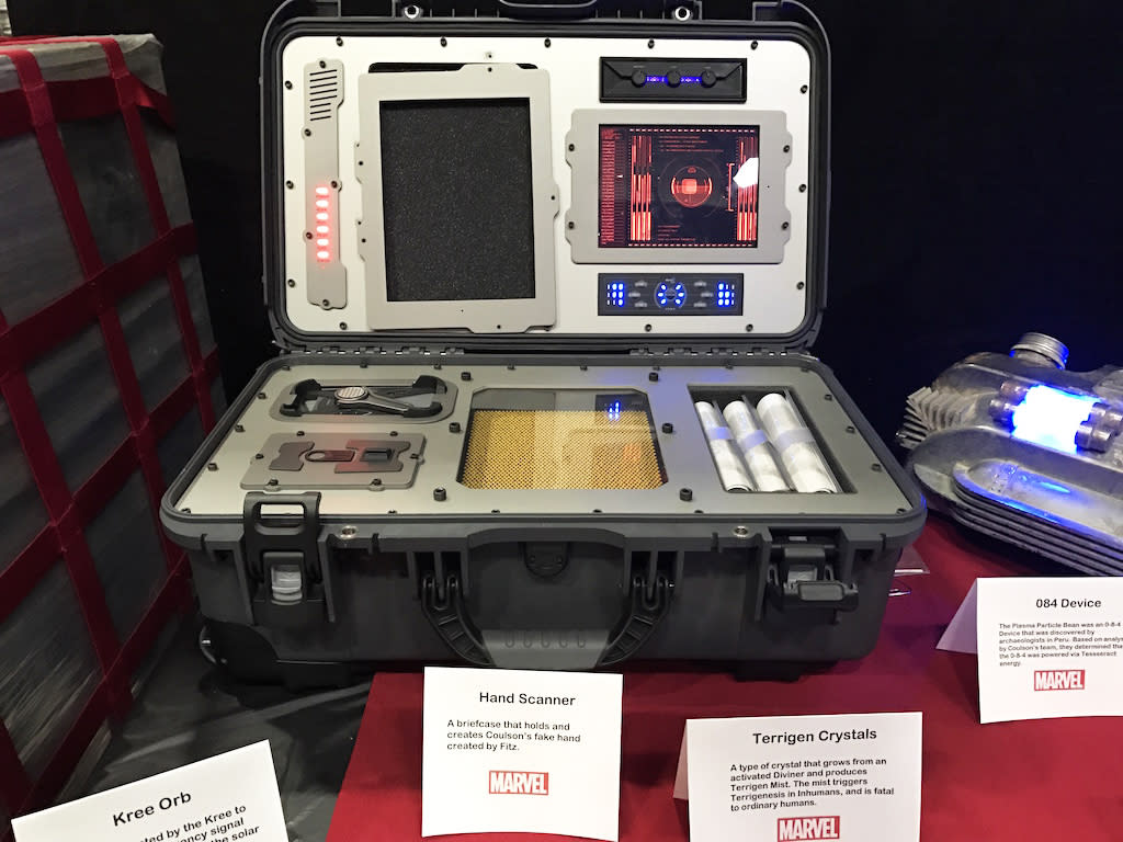 """<p><i>A briefcase that holds and creates Coulson's fake hand created by Fitz.</i><br /> There are decades of source material in the Marvel universe, but not much of it is helpful for creating physical objects. """"I tend to look at the comics, but the comics are a very simplified drawing of something,"""" says Bauer. """"So I may take a color or shape and turn it into something like that.""""<br /> (Credit: Yahoo TV) </p>"""