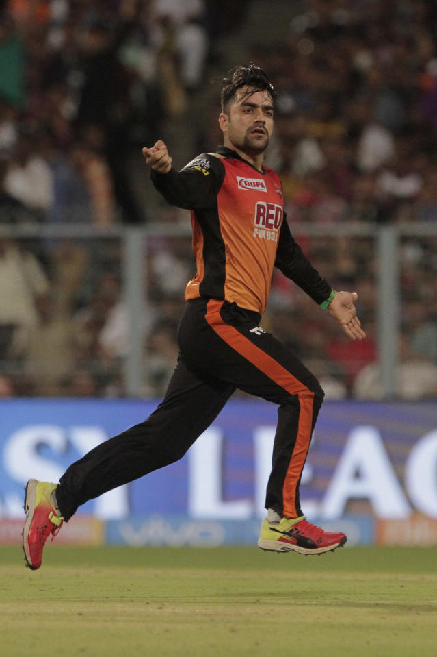 <p>Rashid Khan is the first overseas spinner to bowl a maiden over in an IPL playoff/knockout match </p>