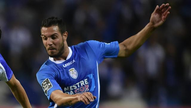 The Greek striker used the back of his foot to loop his shoot over the head of Maritimo goalkeeper Charles.