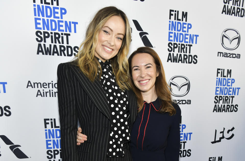 WEST HOLLYWOOD, CALIFORNIA - JANUARY 04: Olivia Wilde (L) and Katie Silberman attend the 2020 Film Independent Spirit Awards Nominees Brunch at BOA Steakhouse on January 04, 2020 in West Hollywood, California. (Photo by Rodin Eckenroth/Getty Images)