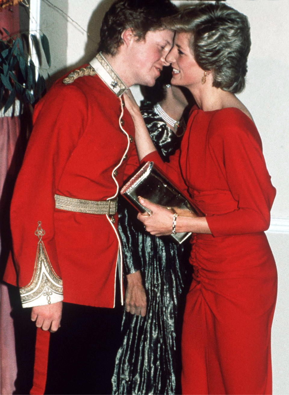 LONDON, UNITED KINGDOM - NOVEMBER 21:  Princess Diana Kissing Her Brother, Viscount Althorp (later To Become Earl Spencer) At The Birthright Red Ball In London Raising Funds For The Charity Birthright Of Which She Is Patron  (Photo by Tim Graham Photo Library via Getty Images)