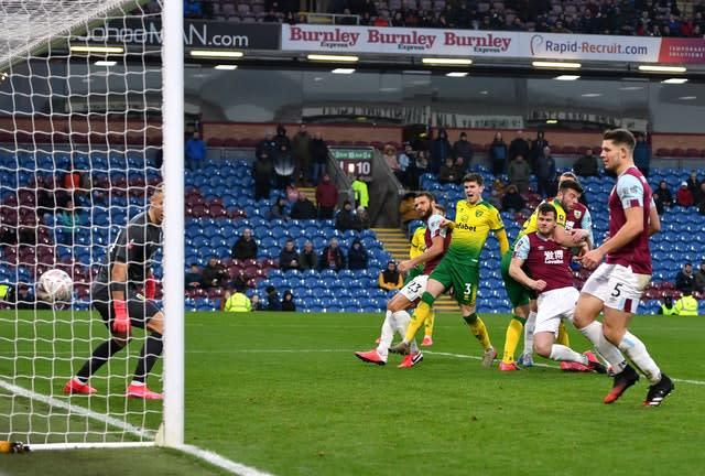 Grant Hanley, right, heads Norwich into the lead (Anthony Devlin/PA)