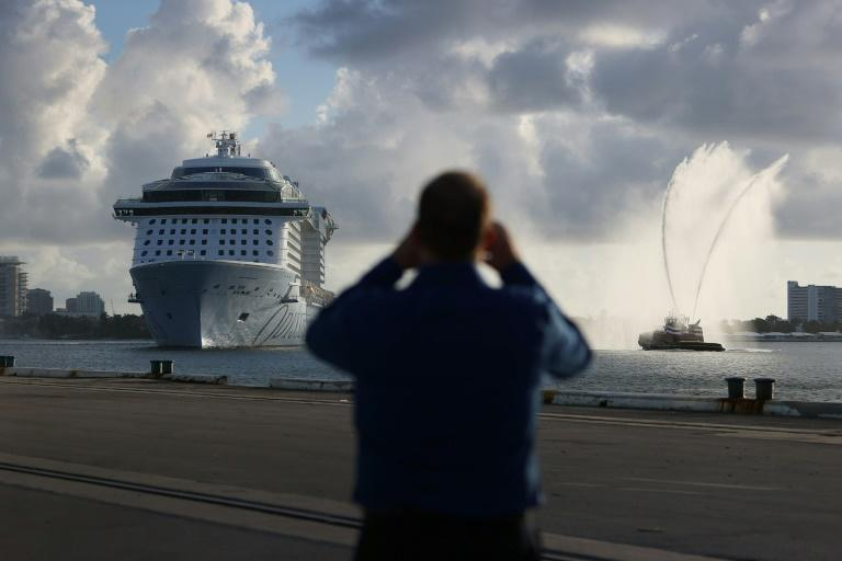 Royal Caribbean's Odyssey of the Seas arrives in Fort Lauderdale, Florida on June 10, 2021, ahead of a scheduled July 3 cruise through the Caribbean