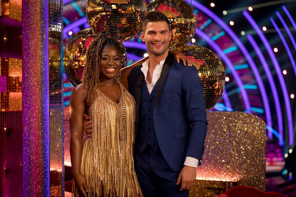 Clara Amfo and Aljaz Skorjanec during the launch show for the BBC1 dancing contest, Strictly Come Dancing (PA)