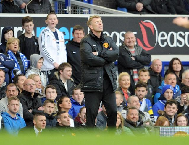 Manchester United's manager David Moyes is seen during their English Premier League soccer match against Everton at Goodison Park in Liverpool, England, Sunday April 20, 2014. (AP Photo/Clint Hughes)