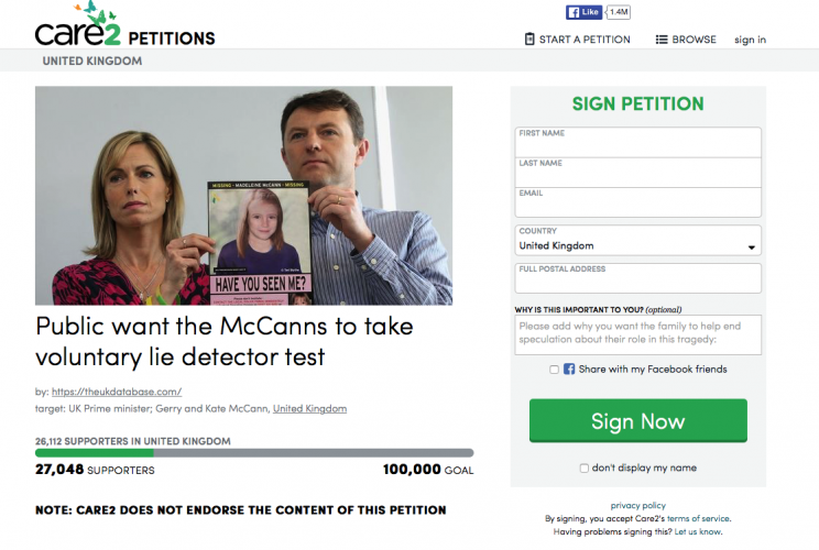 The petition has called for Madeleine McCann's parents to take a lie detector test (Picture: Care2 Petitions)