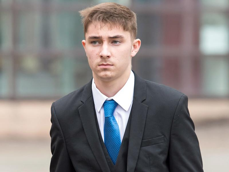 Joe Tivnan 19, leaves Nottingham Magistrates' Court, where he pleaded guilty to racially or religiously aggravated harassment: PA