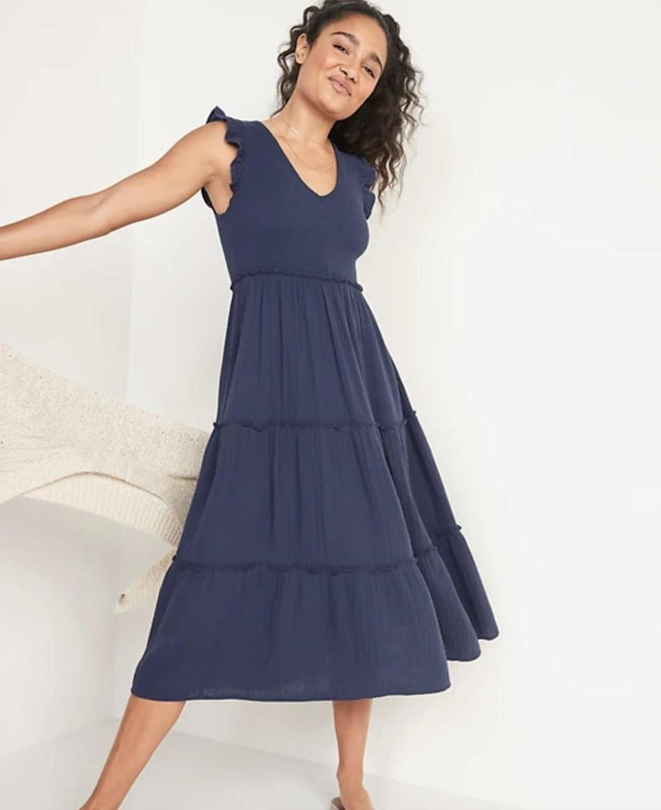 <p>Go with the flow and keep plans loose, just like the <span>Old Navy Fit and Flare Smocked Maxi Dress</span> ($50). Finish off your look with a denim jacket or a light trench coat.</p>