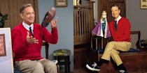 <p>Hanks donned Mr. Rogers' iconic red sweater for his role in <em>A Beautiful Day in the Neighborhood.</em> </p>