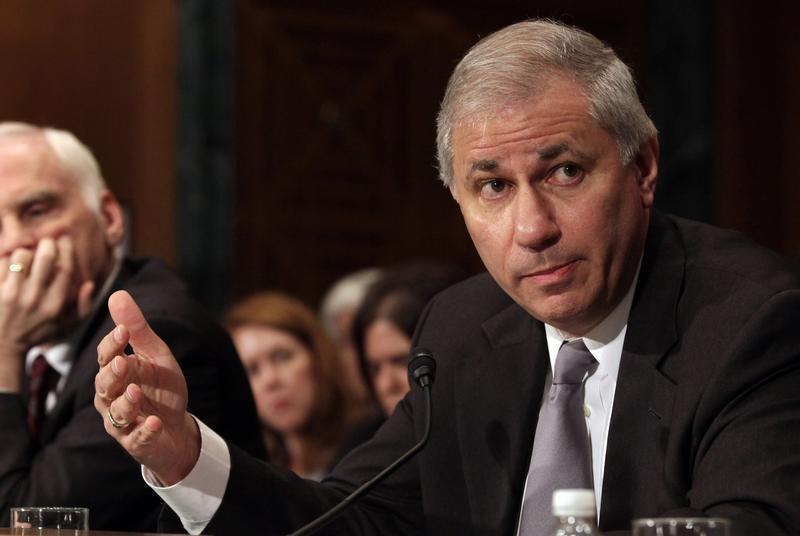 Martin Gruenberg, chairman of the Federal Deposit Insurance Corporation, gestures as he testifies before a Senate Banking, Housing and Urban Affairs Committee hearing in Washington