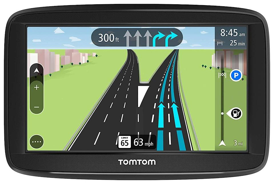 """<p>Stop letting your dad use those old paper maps when he drives; instead, get this <a href=""""https://www.popsugar.com/buy/TomTom-VIA-1525TM-GPS-Navigation-Device-400390?p_name=TomTom%20VIA%201525TM%20GPS%20Navigation%20Device&retailer=amazon.com&pid=400390&price=119&evar1=geek%3Aus&evar9=36026397&evar98=https%3A%2F%2Fwww.popsugar.com%2Ftech%2Fphoto-gallery%2F36026397%2Fimage%2F44892420%2FTomTom-VIA-1525TM-5-Inch-GPS-Navigation-Device&list1=shopping%2Cgifts%2Cgift%20guide%2Cdigital%20life%2Cfathers%20day%2Ctom%20tom%2Ctech%20gifts%2Cgifts%20for%20men&prop13=api&pdata=1"""" class=""""link rapid-noclick-resp"""" rel=""""nofollow noopener"""" target=""""_blank"""" data-ylk=""""slk:TomTom VIA 1525TM GPS Navigation Device"""">TomTom VIA 1525TM GPS Navigation Device</a> ($119). It's hands-free, offers voice recognition, and can even give him traffic updates.</p>"""