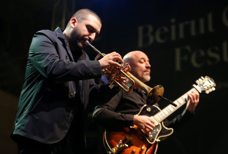French-Lebanese trumpet player and composer, Ibrahim Maalouf, performs with guitarist Francois Delporte in Beirut