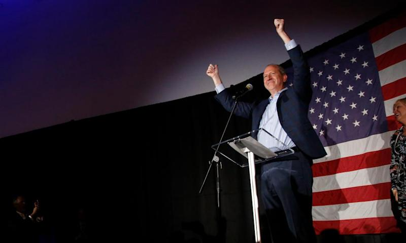 Dan Bishop celebrates after winning a congressional seat