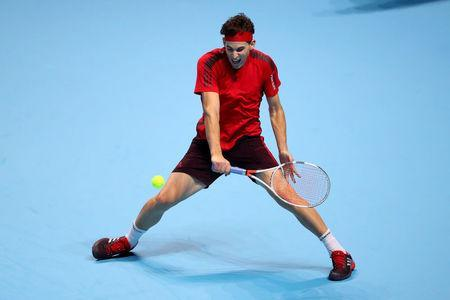 Tennis - ATP World Tour Finals - The O2 Arena, London, Britain - November 13, 2017 Austria's Dominic Thiem in action during his group stage match against Bulgaria's Grigor Dimitrov REUTERS/Hannah McKay