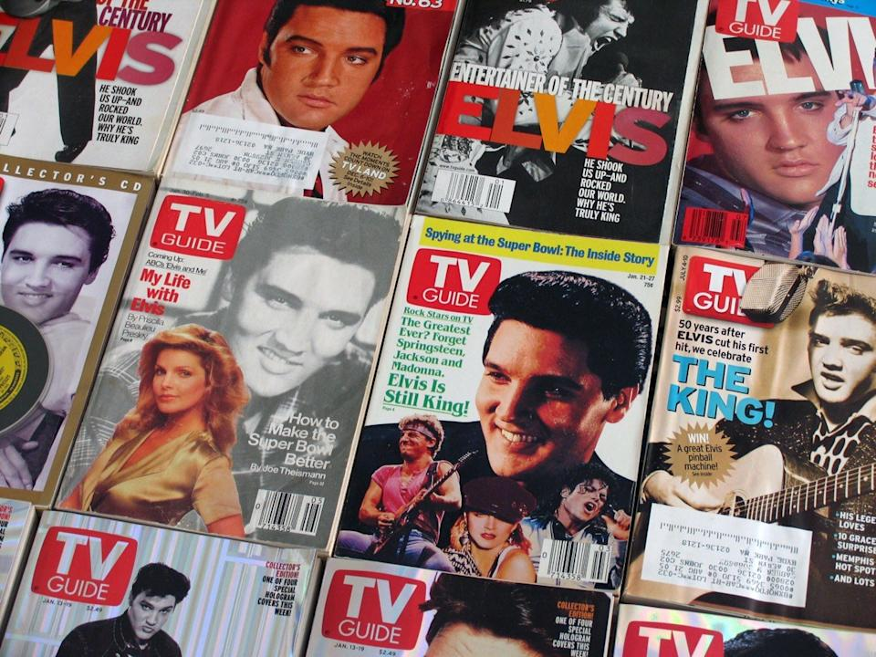 Vintage collection of TV Guides featuring Elvis Presley on the cover, circa 1988-2005