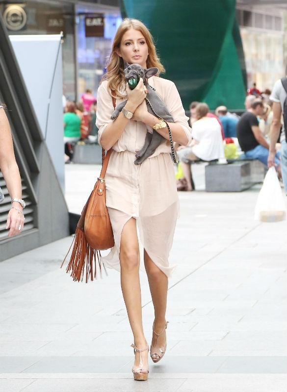 Millie Mackintosh Stuns In Floaty Peach With Pet Pooch At Sunday Strut Launch