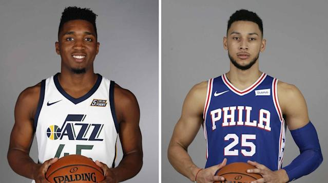 Jazz guard Donovan Mitchell and Sixers guard Ben Simmons topped the list for the NBA's All-Rookie first team, the NBA announced.