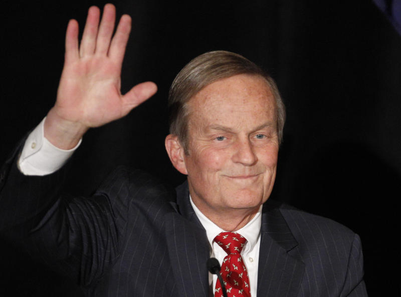 FILE - In this Feb 18, 2012 file photo, Senate candidate Rep. Todd Akin, R-Missouri, waves to the crowd while introduced at a senate candidate forum during a Republican conference in Kansas City, Mo. The two losing candidates in the Republican primary for Missouri's U.S. Senate seat are getting renewed attention after Akin's comments about rape on Sunday, Aug. 19, 2012. (AP Photo/Orlin Wagner, file)