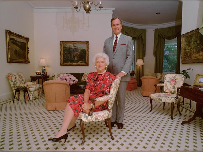 George and Barbara Bush in VP residence