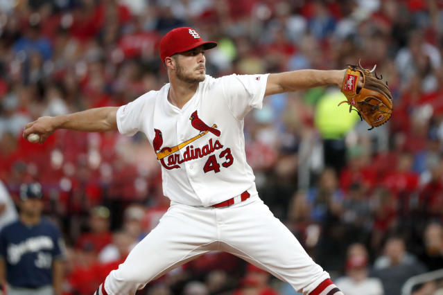 St. Louis Cardinals starting pitcher Dakota Hudson throws during the fourth inning of a baseball game against the Milwaukee Brewers, Monday, Aug. 19, 2019, in St. Louis. (AP Photo/Jeff Roberson)