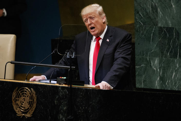 President Donald Trump delivers a speech to the United Nations General Assembly, Tuesday, Sept. 25, 2018, at U.N. Headquarters. (AP Photo/Evan Vucci)