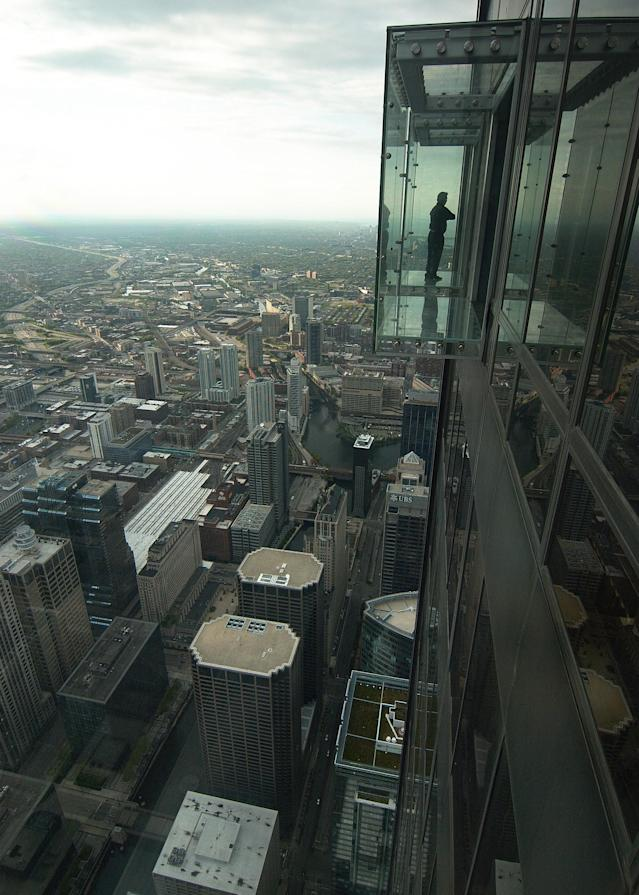 Chicago, Illinois, USA - 2019: The view from the Willis Tower, a 110-story 1,450-foot (442.1 m) skyscraper in the downtown district.