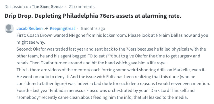 Comments on a 76ers blog include the same content from Twitter accounts linked to team president Bryan Colangelo. (Disqus)