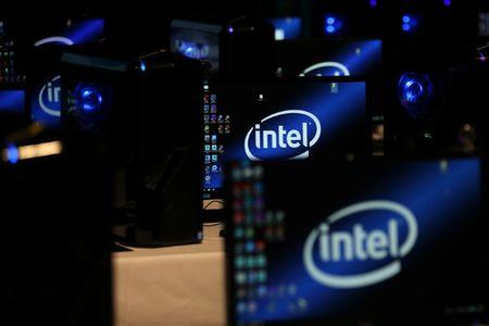The Intel logo is displayed on computer screens at SIGGRAPH 2017