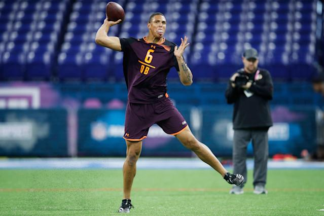 Buffalo QB Tyree Jackson wowed some at the NFL scouting combine in February with his powerful arm. It wasn't enough to get selected in the draft. (Getty Images)