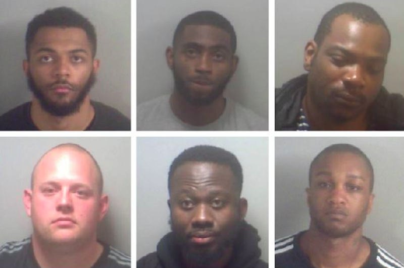The remaining members of the gang, pictured from left to right. Top row: Jheryl Long, John Smillie and Junior Tamakloe. Bottom row: Lee George Baker, Nana Danquah and Nyake Alieu (Picture: Kent Police)