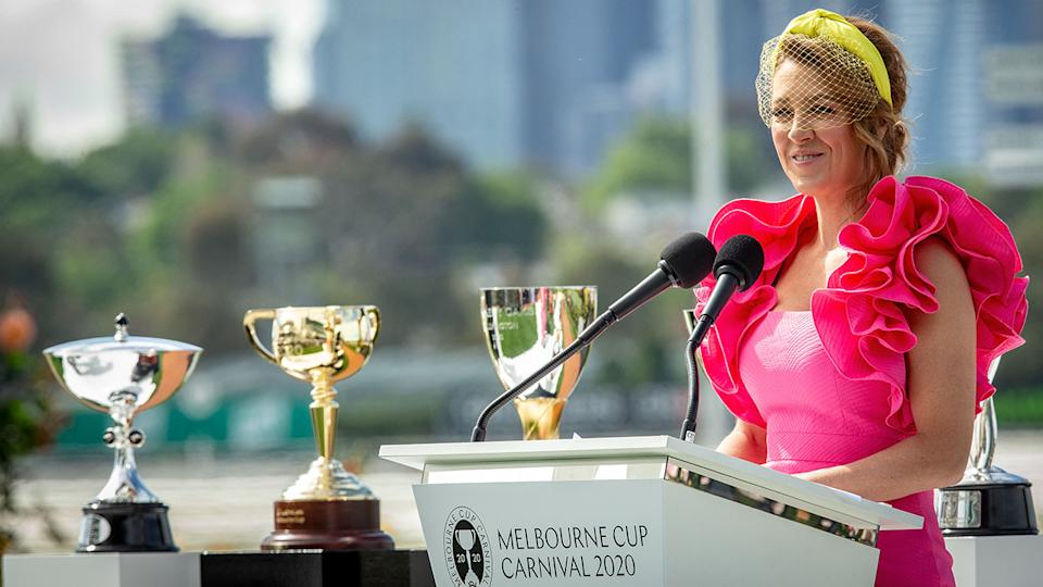 Gorgi Coghlan, pictured here at the Melbourne Cup Carnival launch.