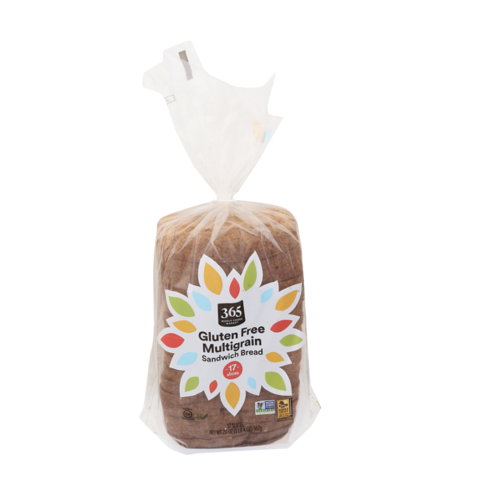 """<p><strong>365</strong></p><p><strong>$5.00</strong></p><p><a href=""""https://products.wholefoodsmarket.com/product/365-by-whole-foods-market-multigrain-sandwich-bread-32dd3a"""" rel=""""nofollow noopener"""" target=""""_blank"""" data-ylk=""""slk:BUY NOW"""" class=""""link rapid-noclick-resp"""">BUY NOW</a></p><p>""""...this is the lightest, tastiest bread we have tried in years!"""" writes one rave Amazon reviewer. """"The size of the bread slice is just right, not too large or too small. The price is very reasonable — usually gluten-free products have a ridiculous mark-up."""" Though some reviewers note that the thickness of the bread varies from loaf to loaf, the overall texture is consistent. </p>"""